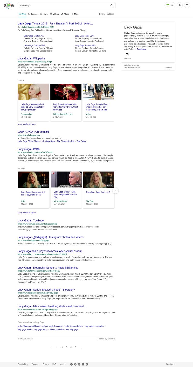 Ecosia's search results for 'Lady Gaga'