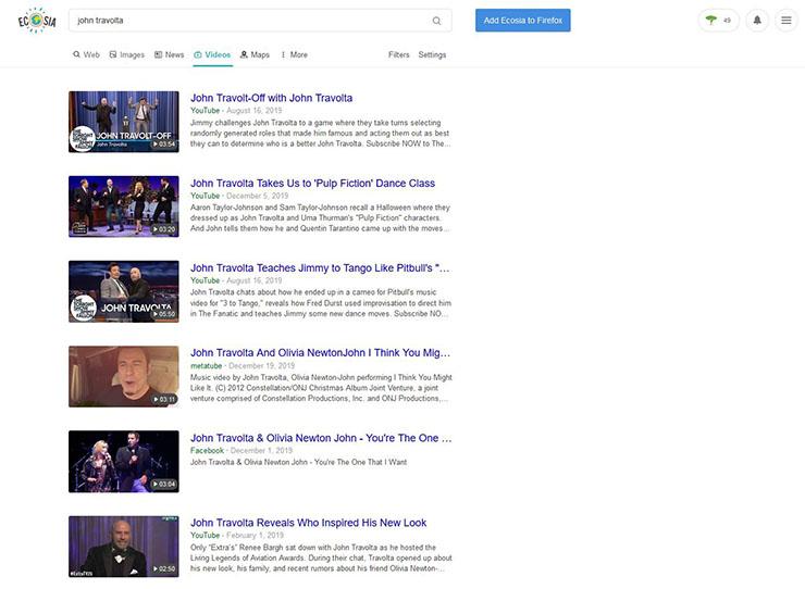 Ecosia's video search results for 'John Travolta'.