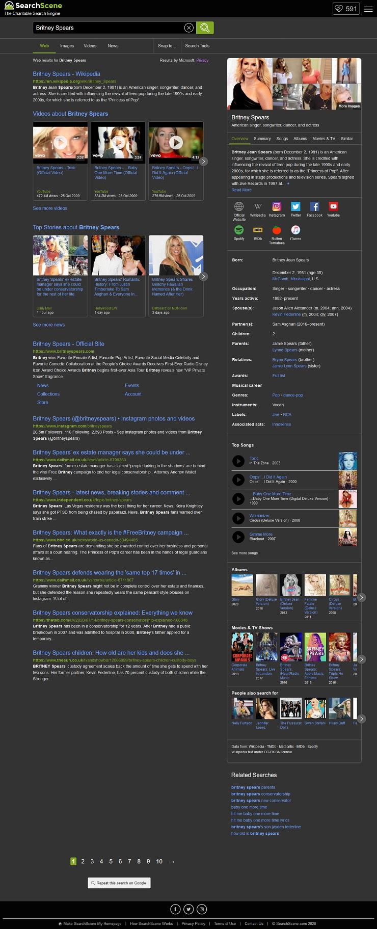 SearchScene's search results on dark mode.