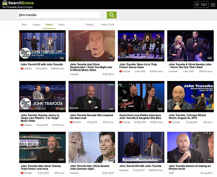 SearchScene's video search results for 'John Travolta'.